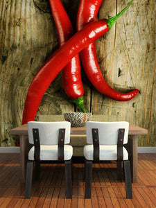 Red Hot Chilli Peppers on Wooden Background Wall Mural