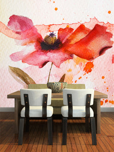 Red Watercolor Flower Wall Mural