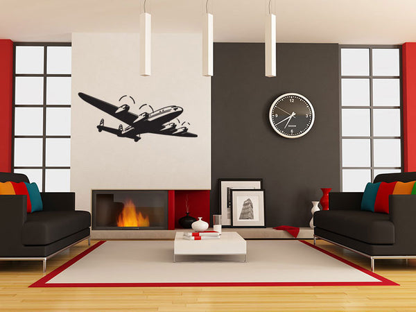 Retro Passenger Plane Wall Decal