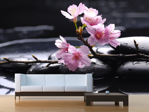 Therapy Stones with Cherry Flowers Wall Mural