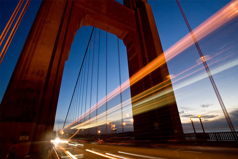 Traffic on Golden Gate Bridge at Night Wall Mural