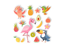 Load image into Gallery viewer, Set Cute Cartoon Tropical Wall Decal