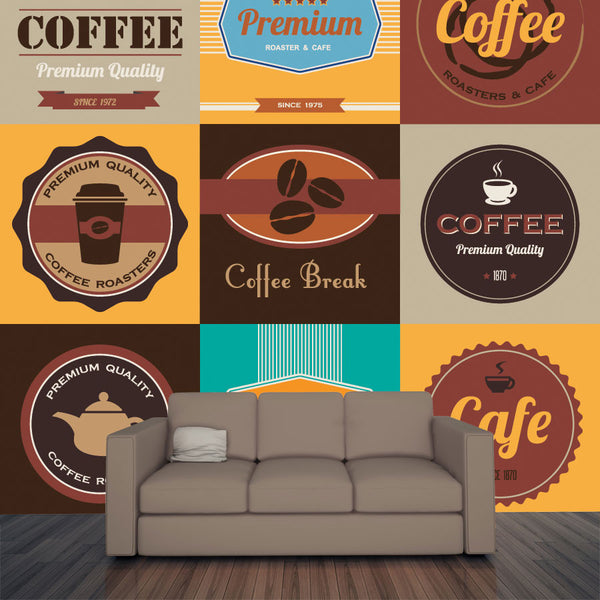 Vintage Coffee Badges Wall Mural