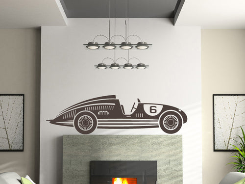 Vintage Number 6 Race Car Wall Decal