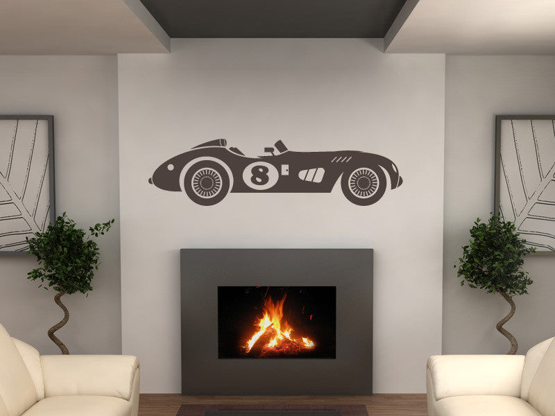 Vintage Number 8 Race Car Wall Decal
