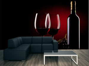 Wine Glasses and Bottle Wall Mural