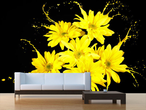 Yellow Flower Splash Wall Mural