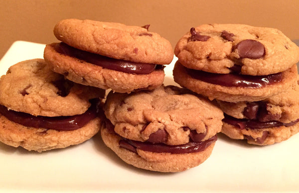 Milk Chocolate Chip Peanut Butter Cookies sandwiched with Milk Chocolate Peanut Butter Ganache