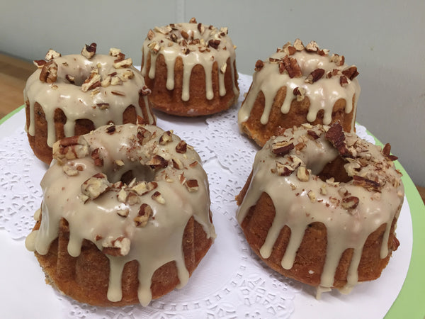 Spice Swirled Sweet Potato Bundt Cake with Maple Pecan Frosting