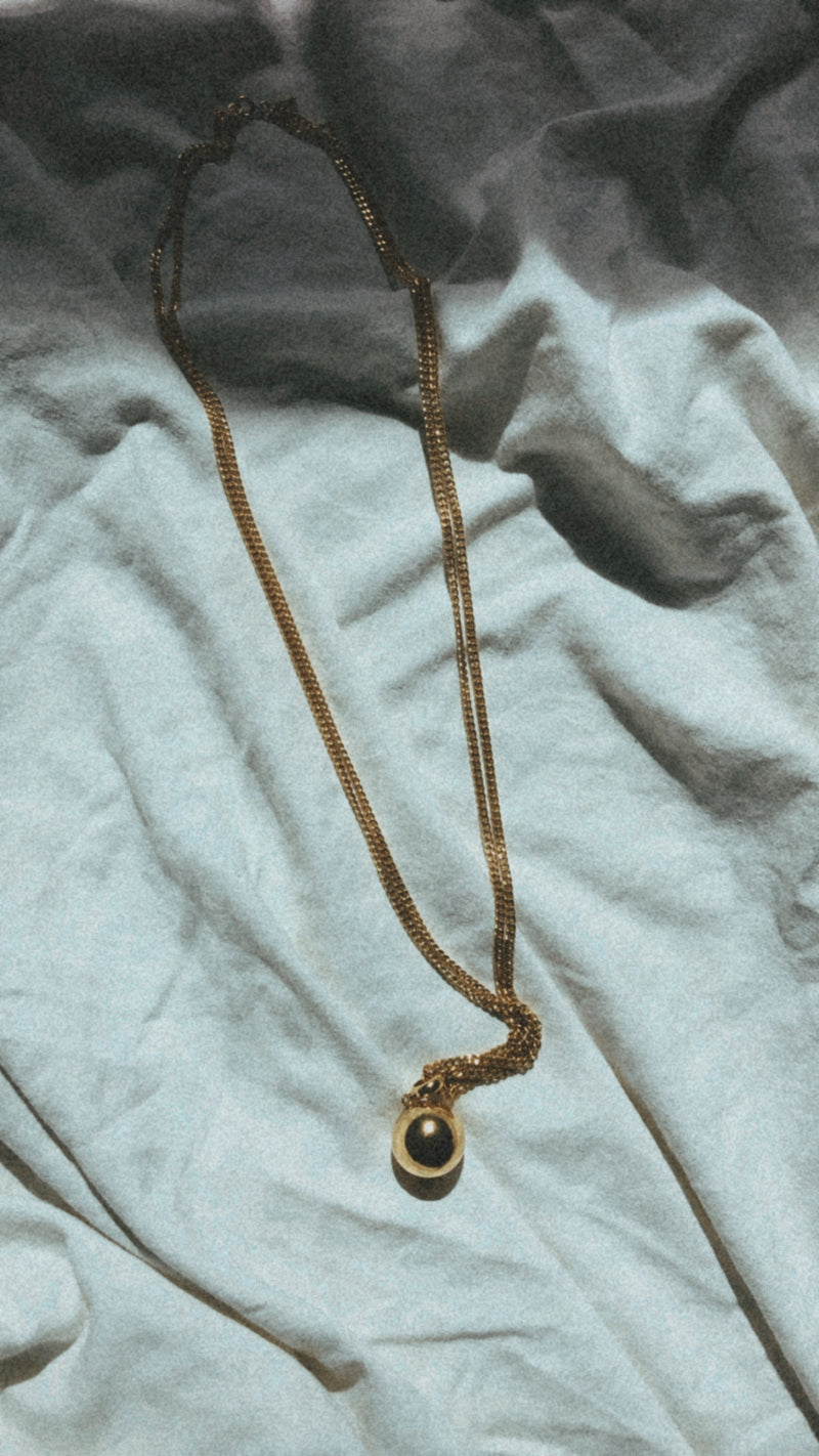 Vintage Gold  Ball and Chain Necklace