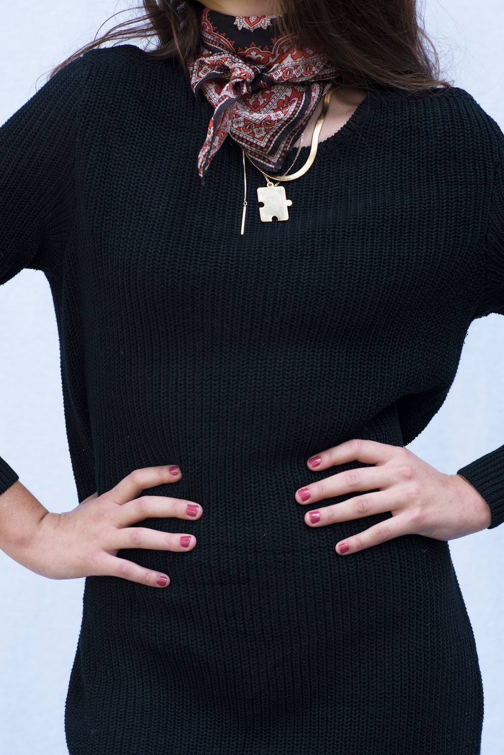 Vintage Black Cable Knit Sweater Dress