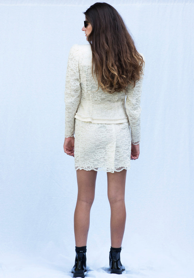 Vintage Cream Lace Skirt Suit