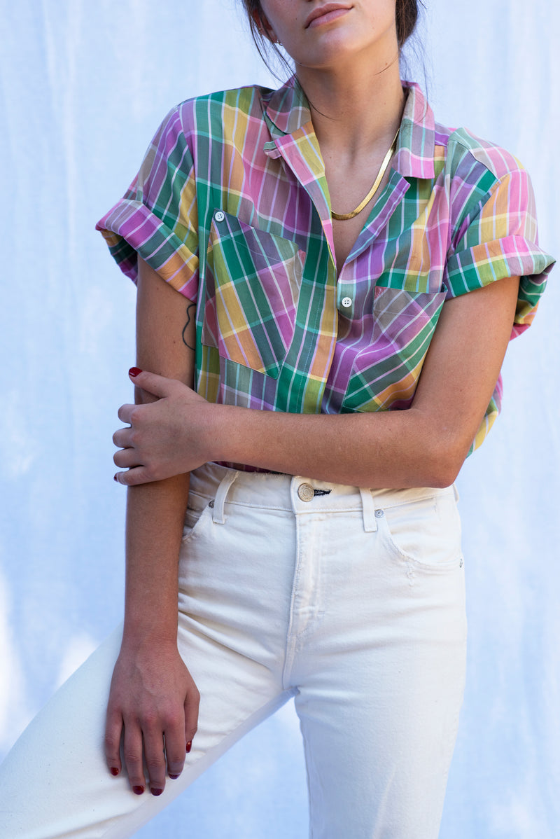 Vintage Madras Plaid Shirt