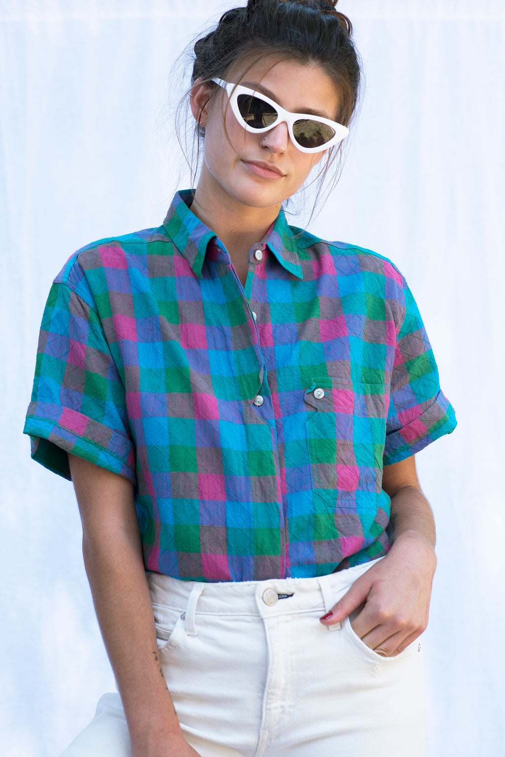 Vintage Blue Checkered Button Down Shirt
