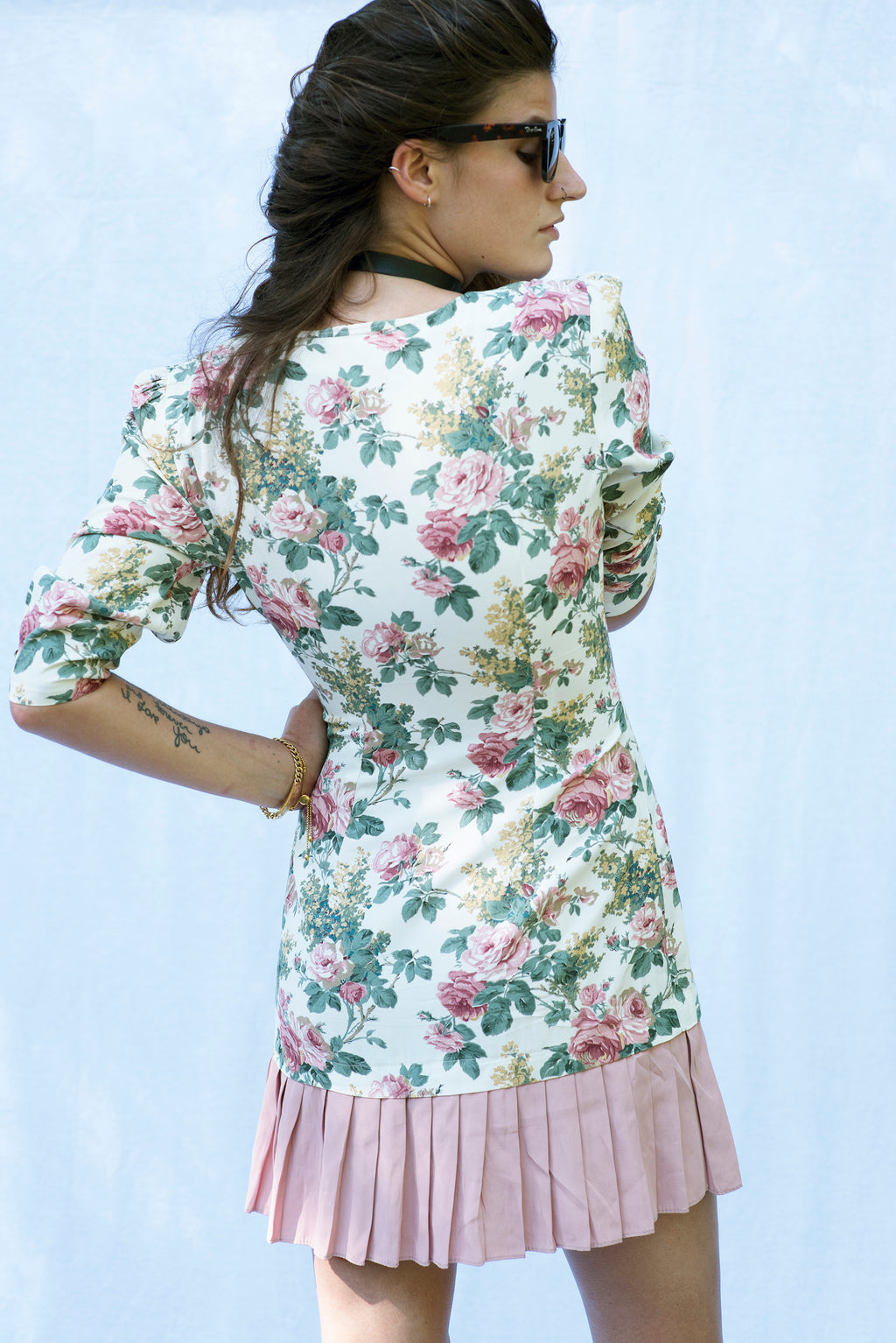 Vintage Muted Floral Mini Dress