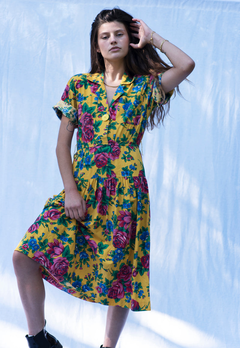 Vintage Bright Rose Print Short Sleeve Dress
