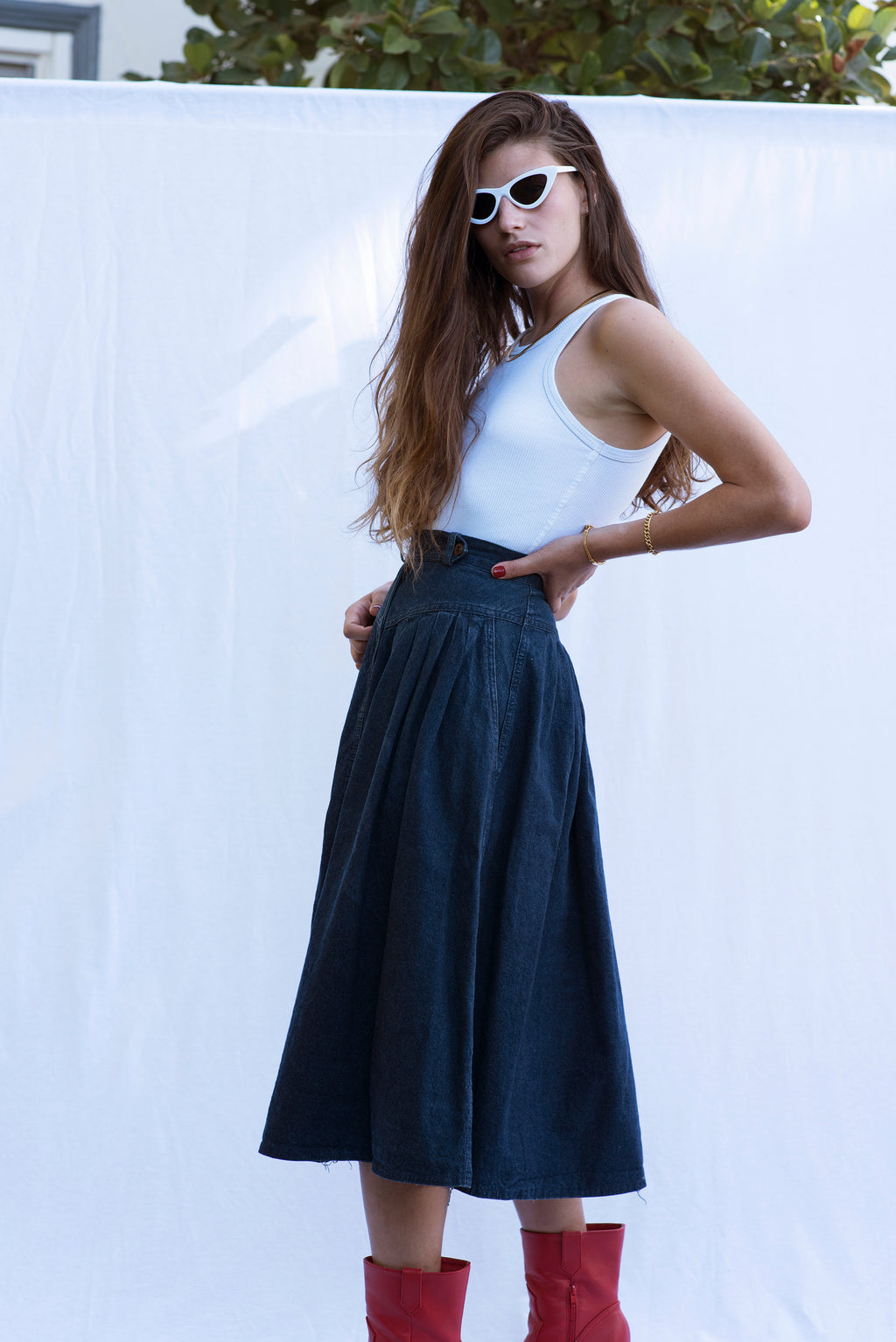 Vintage High-Waisted Denim Skirt
