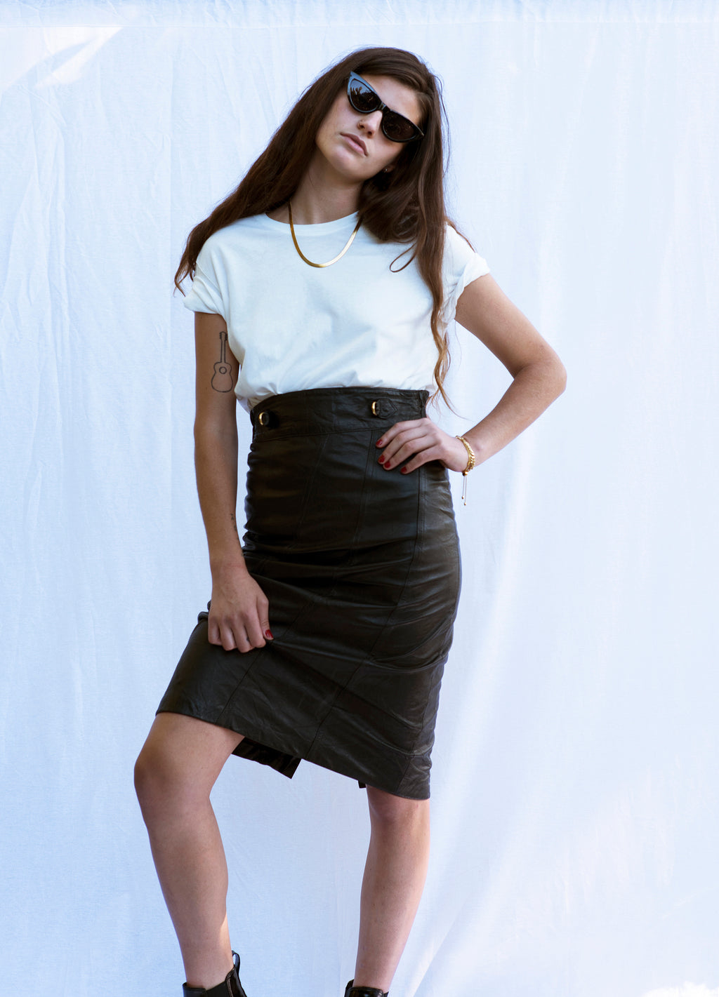 Vintage High Waisted Leather Skirt