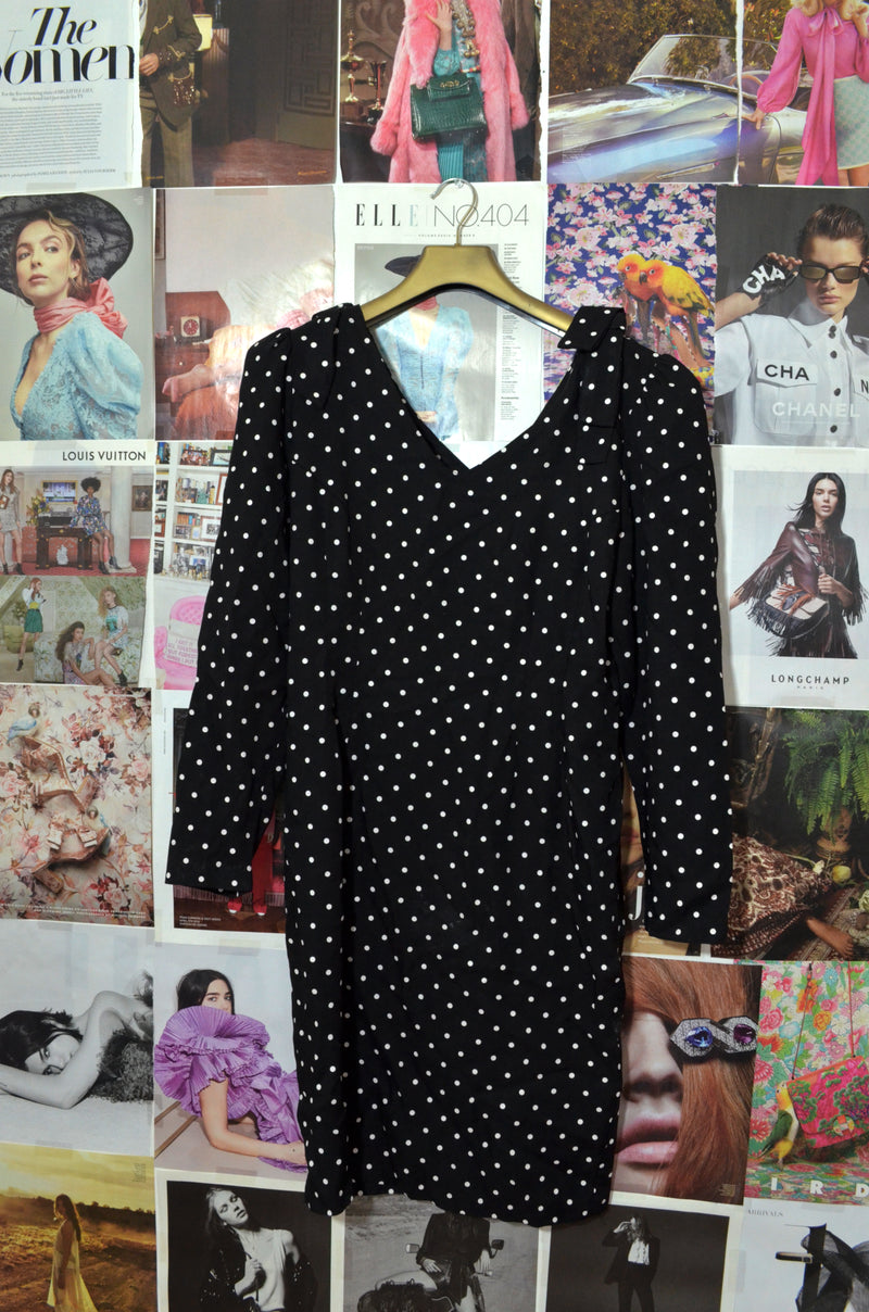 Vintage Black & White Long Sleeve Polka Dot Dress