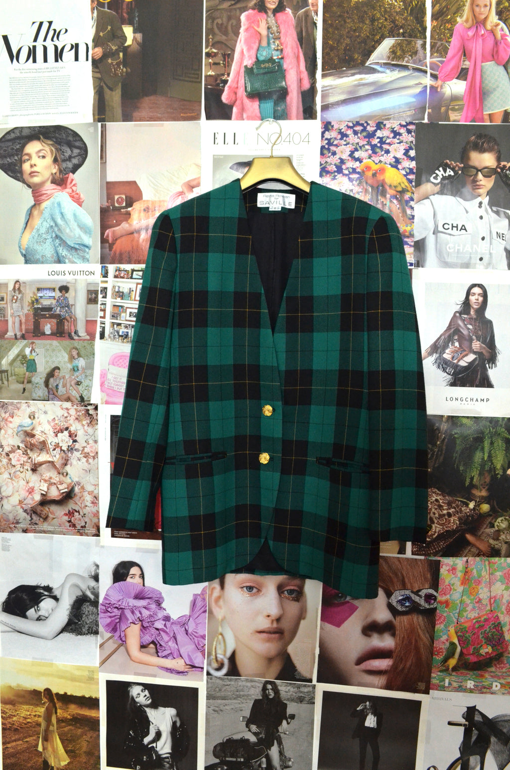 Vintage Green Plaid Blazer