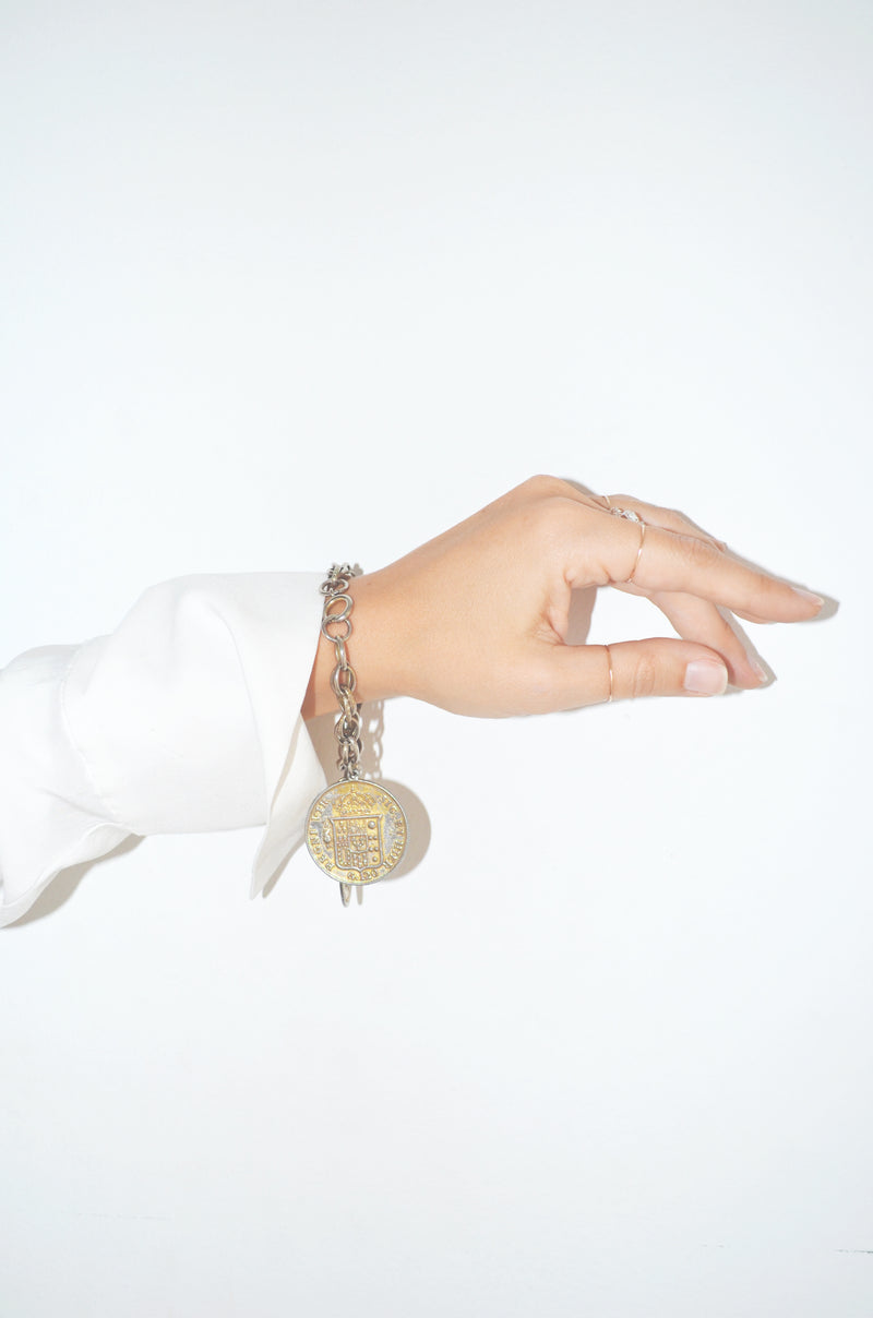 Vintage Coin Drop Chain Bracelet