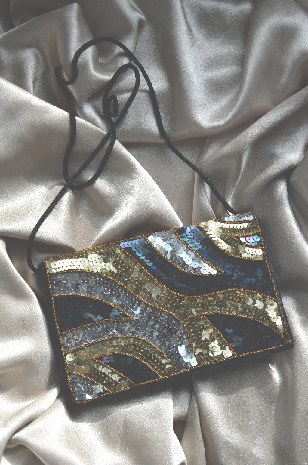 Vintage Sequin Fold Over Evening Bag