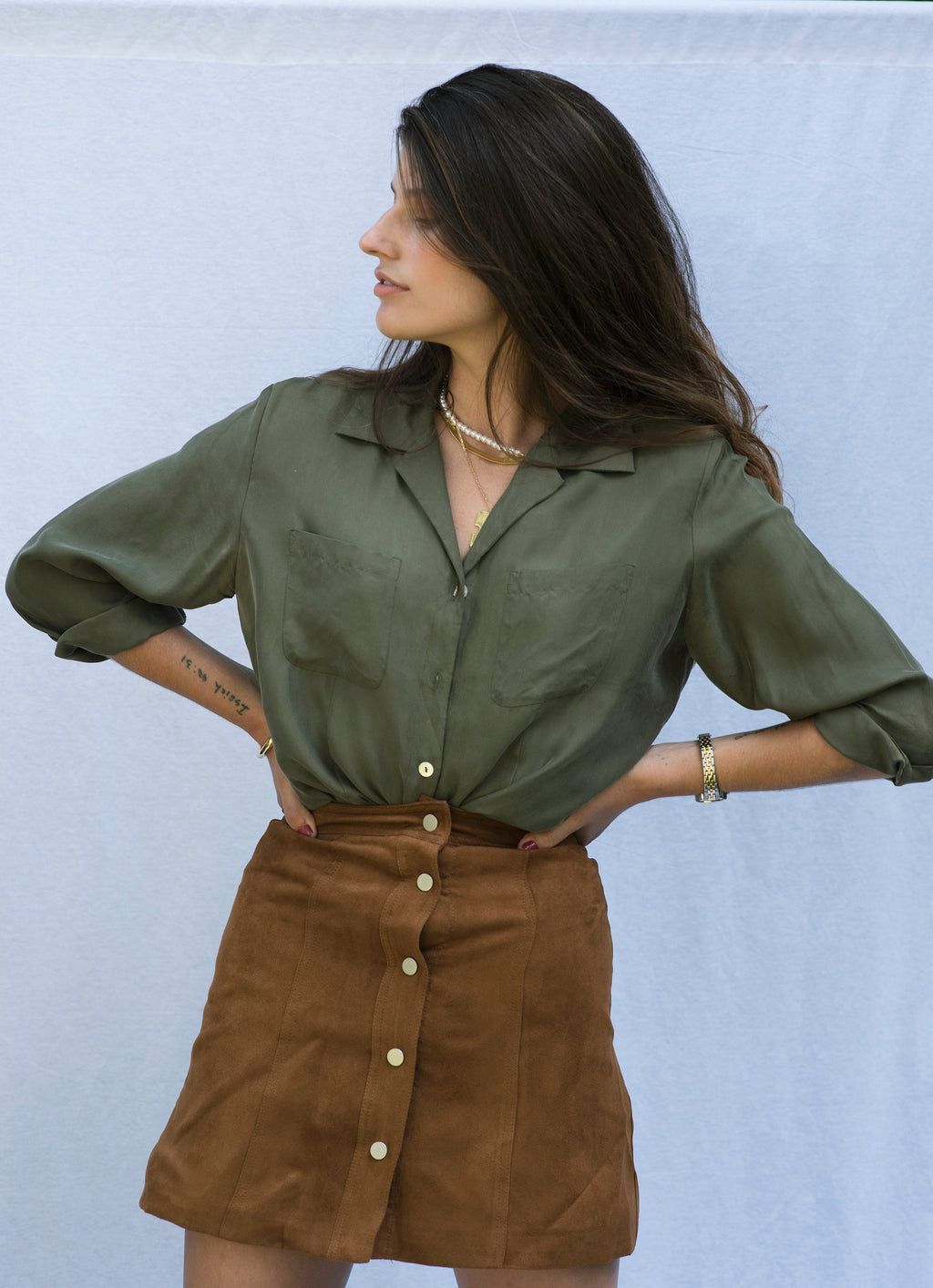 Vintage Olive Button Up