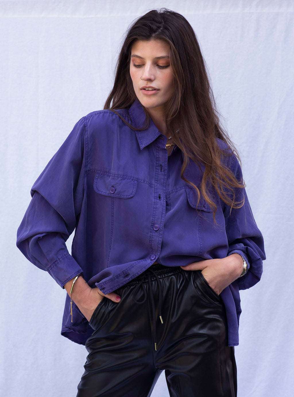 Vintage Purple Button Down Shirt