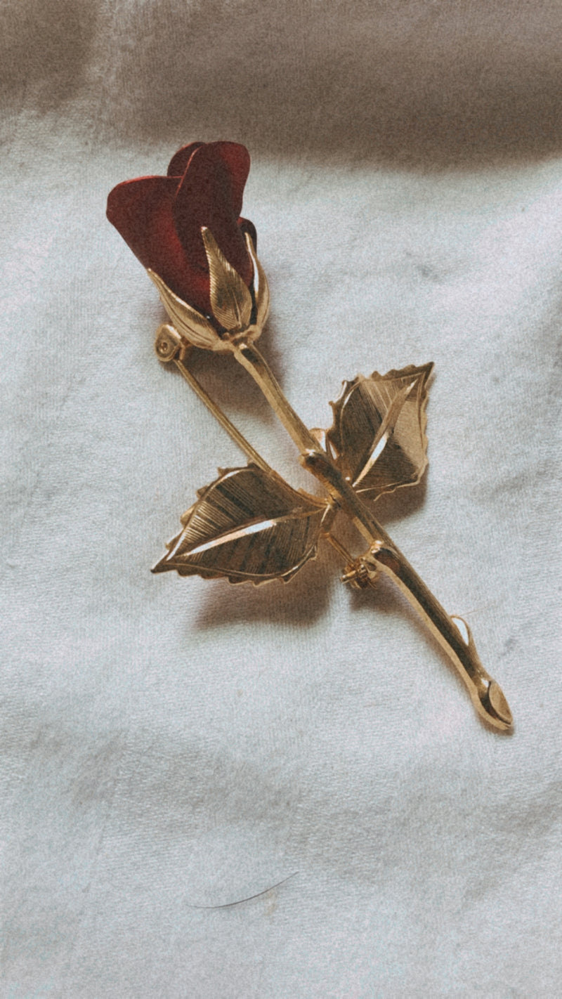 Vintage Red Rose Pin