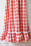 Vintage Red Ruffle Gingham Maxi Dress