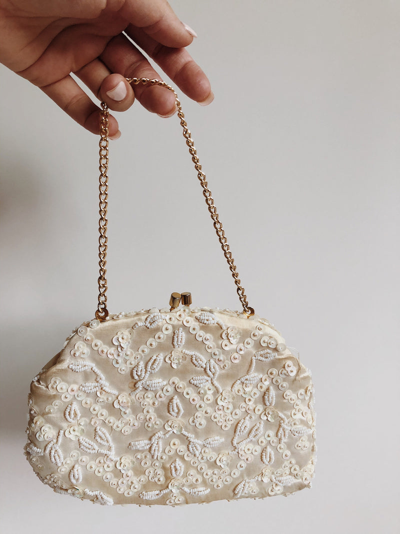 Vintage Beaded Sequin Evening Clutch Purse