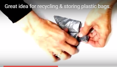 Great idea for storing & recycling plastic bags.
