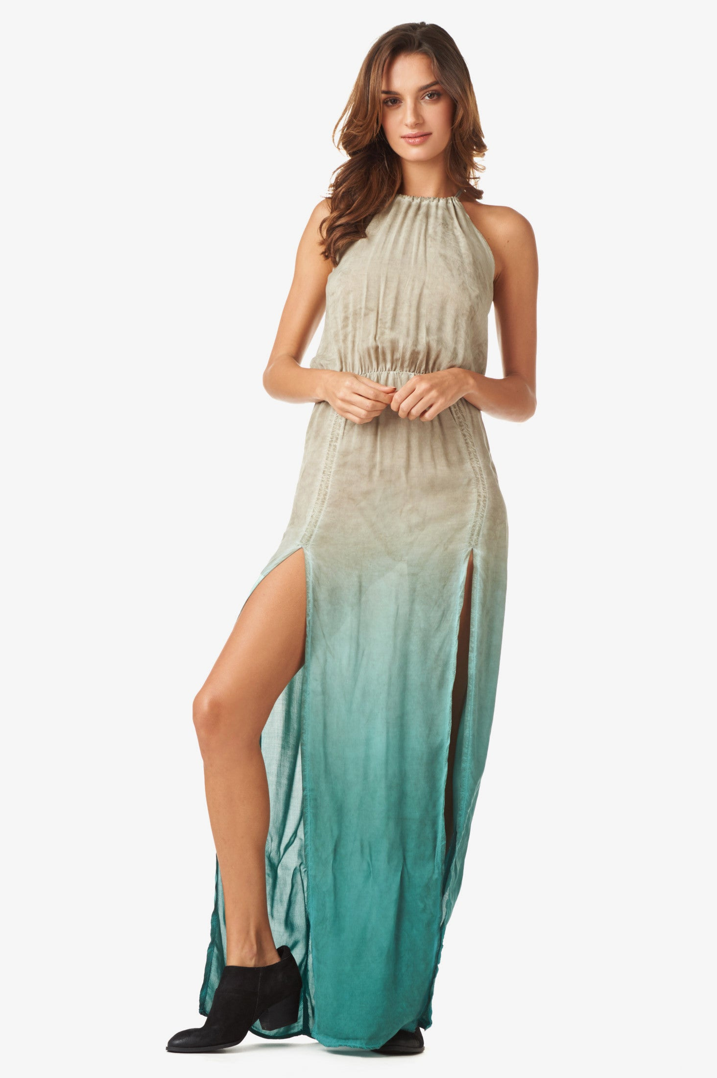 2 Slit Halter Dress in Capri Ombre