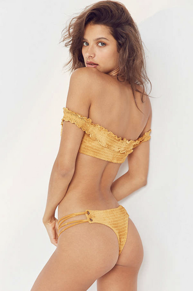 Scrunched Up Hipster Bottom in Honey Tie Dye
