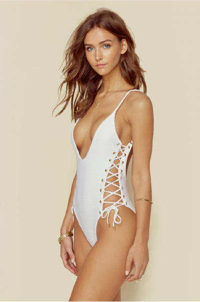 Roped Up One Piece in White Jacquard