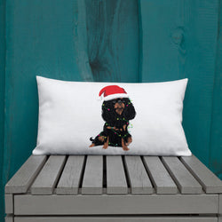 black & tan christmas cav | pillow