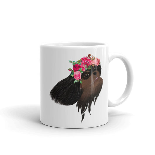 black & tan flower crown cav | mug