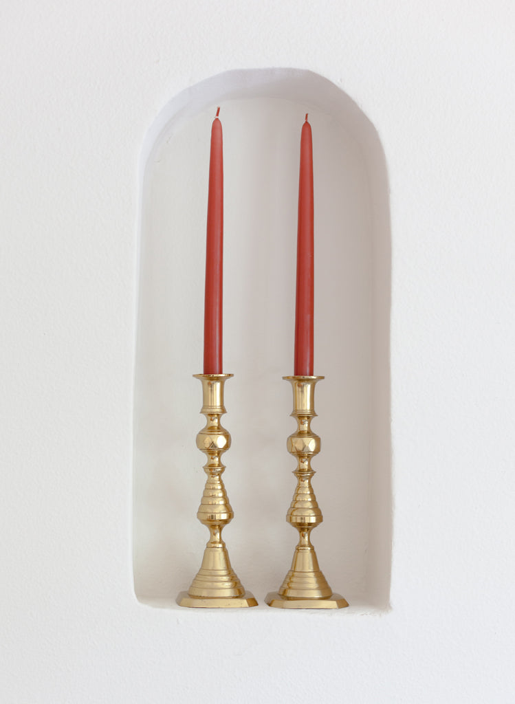 English Brass Candlestick Holders