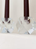 Faceted Glass Candlestick Holders