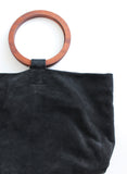 Modern Weaving Slouch Wooden Handle Fold Over Bag