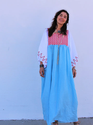 Mixed Denim Poncho
