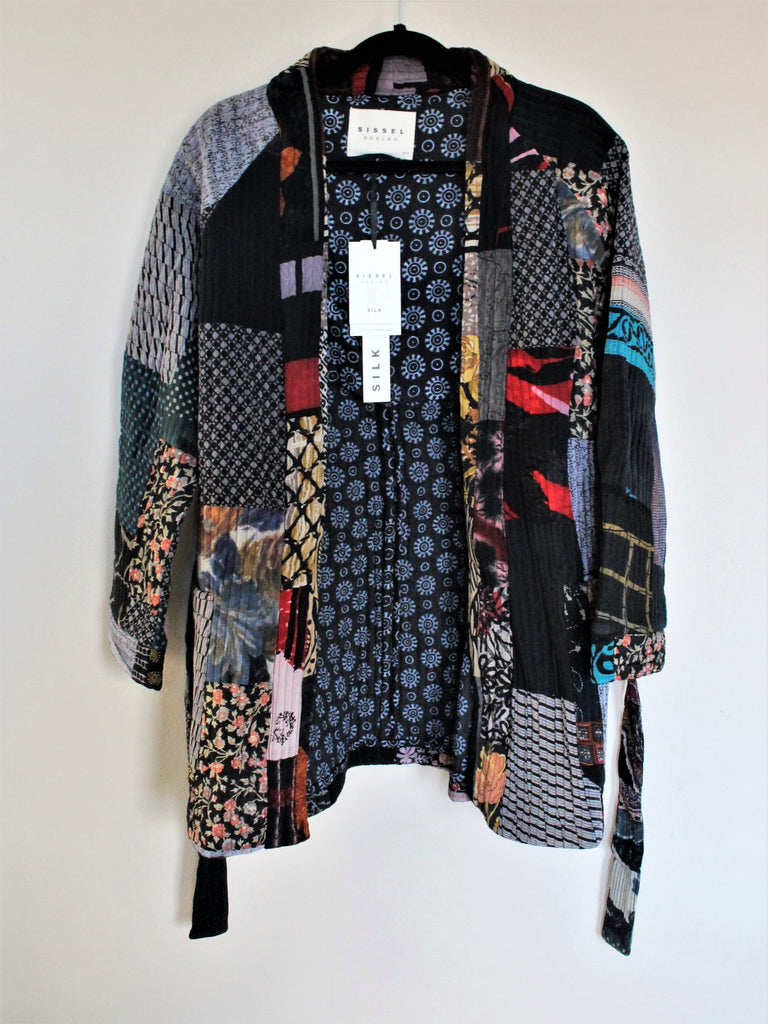 Sofus Patchwork Silk Jacket Dark