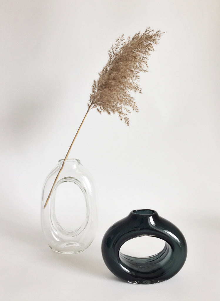 Short Glass Loop Vase Grey