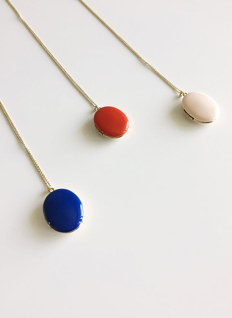 Trois Petits Points Enameled Locket Necklace