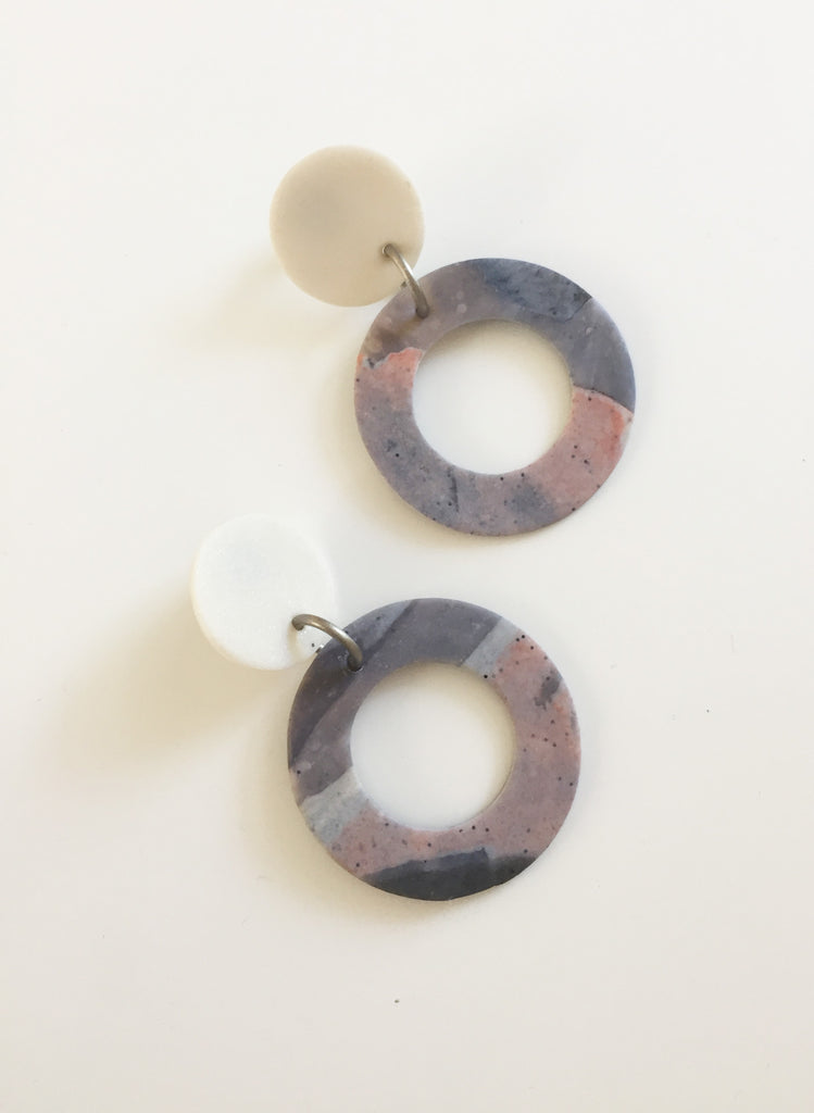 Dangling Hoop Earrings Marbled