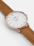 Cluse Minuit Rose Gold Watch Caramel