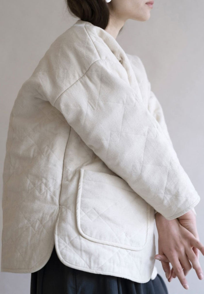 Cream Diamond Quilted Jacket