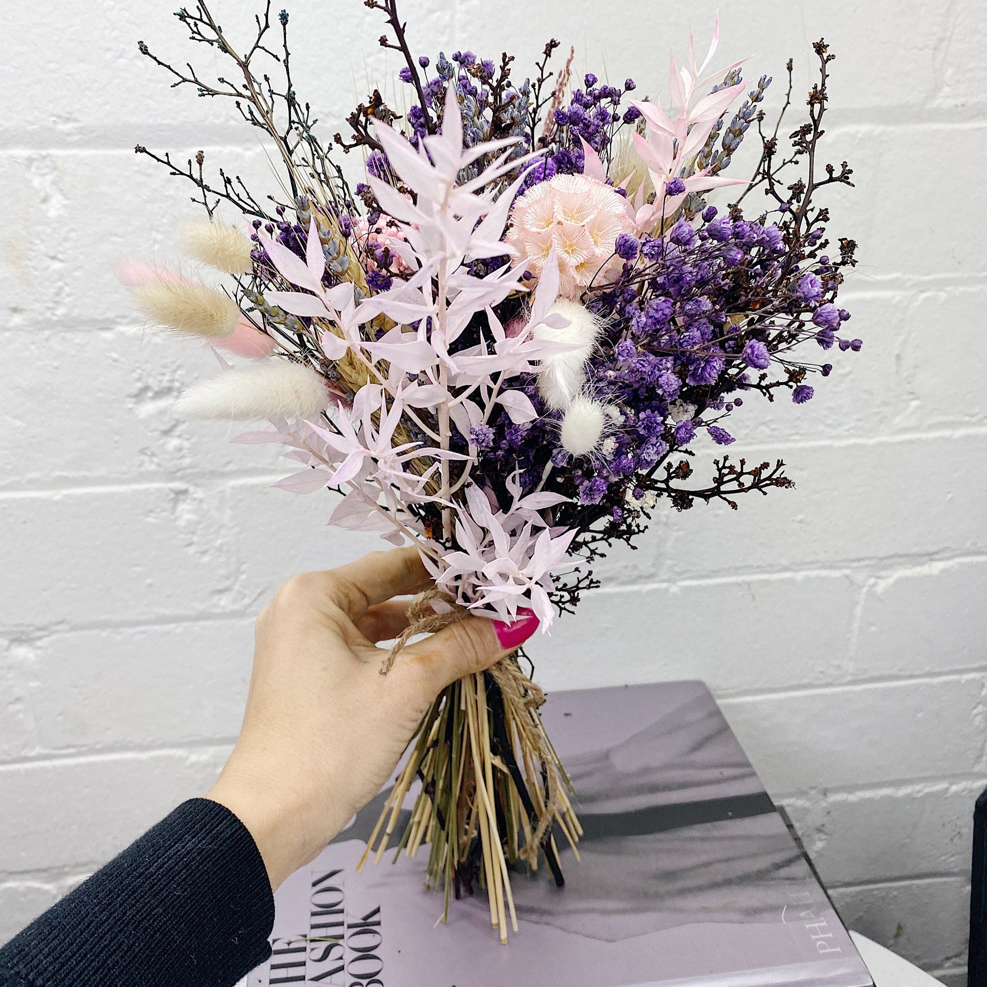 Dried Flowers Small Bouquet Purple Pink Hues