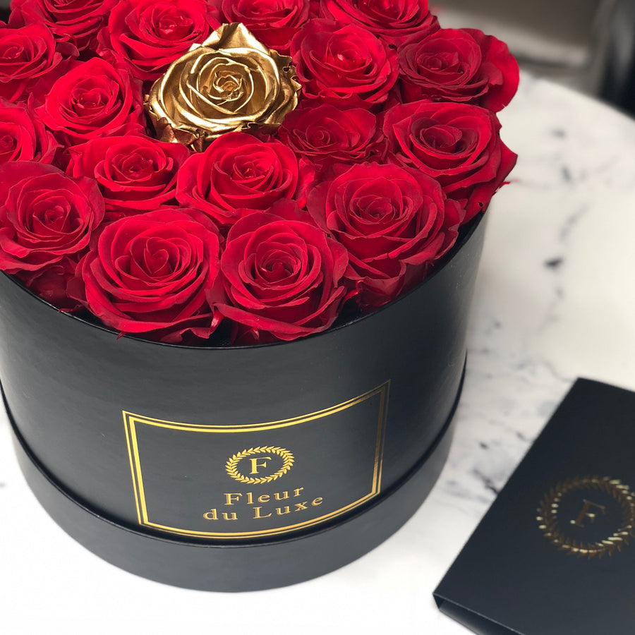 GOLD ROSES : Center Special Round Box