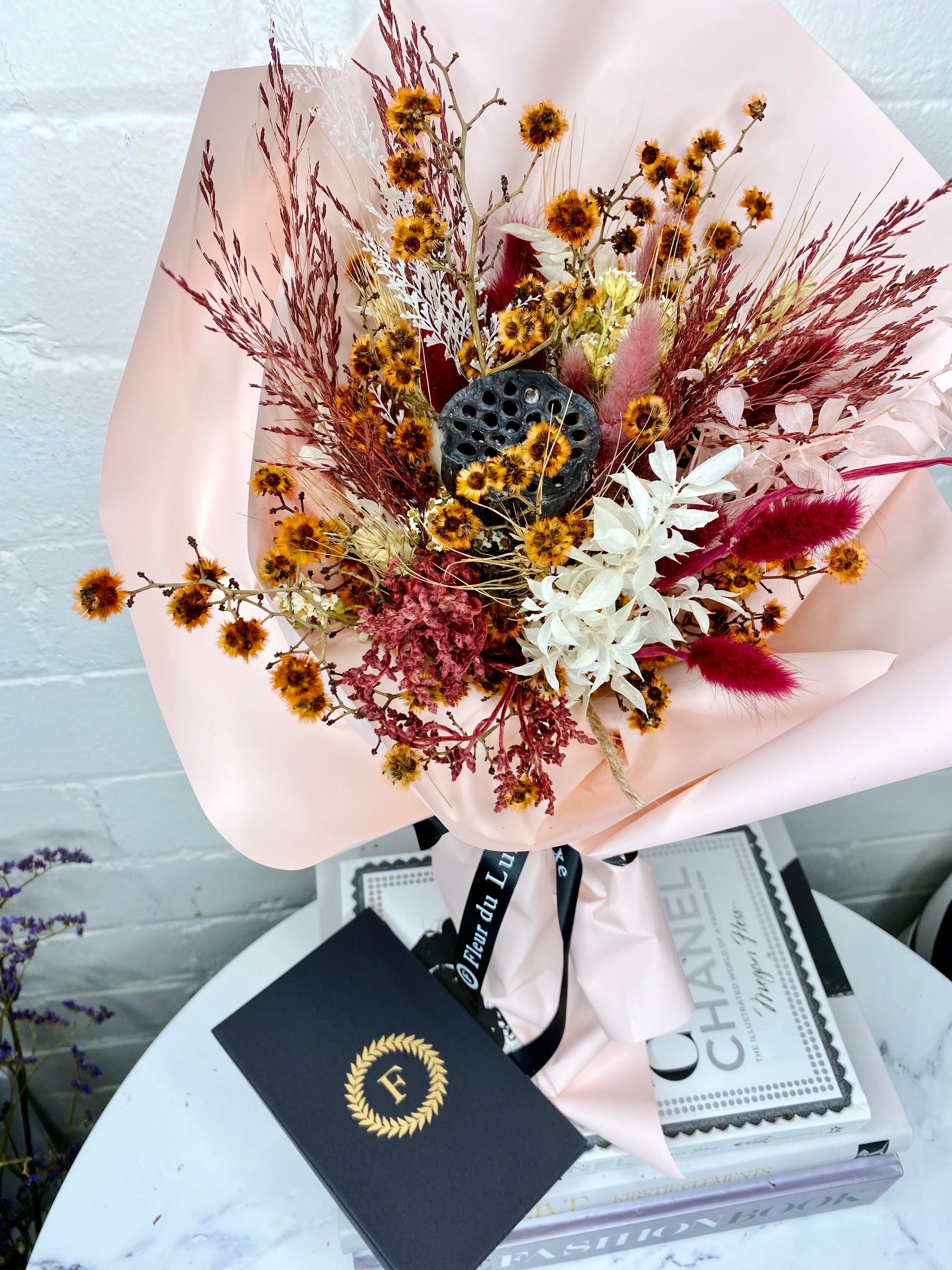Dried Flowers Small Bouquet Red Hues
